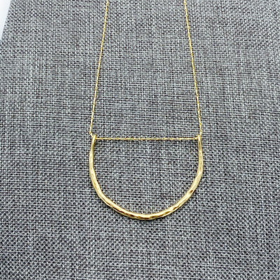 Hammered crescent neckace is interesting but perfect for everyday in 14k gold over brass