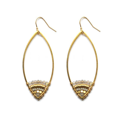 Beautiful lightweight brass earrings feature intricate beadwork with labradorite gemstones.