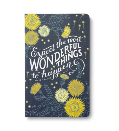 Writing journal with beautiful designs, modern typography, bold sentiments, striking artwork, and periodic typeset quotations.