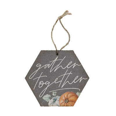 "Wood ornament says ""gather together"" and is great to hang on a tree or as a bottle / gift tag"