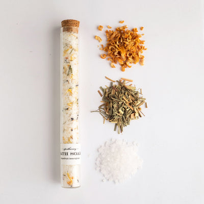 Grapefruit lemongrass bath soak in a glass test tube makes a beautiful gift of self care.