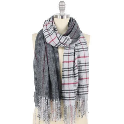 Plaid blanket scarf in grey and red with tassels