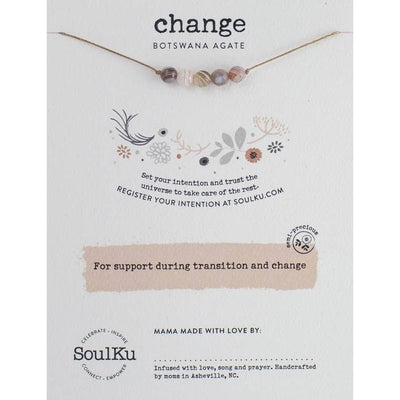 Soulful necklace with agate gemstones promote change and transformation.