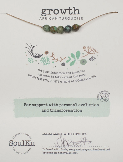 A gemstone necklace with African turquoise to manifest growth.
