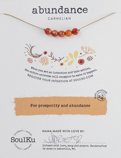 Carnelian necklace for setting intentions and manifesting change.