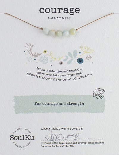 Powerful gemstone necklace with amazonite to promote courage.