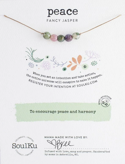 Gemstone necklace to promote peace and well being.