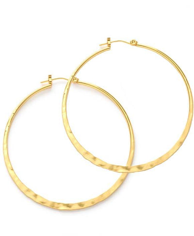 Hammered 2 inch hoops are 14k gold over brass and tarnish resistant