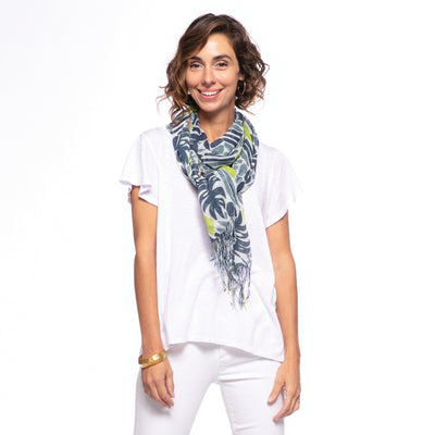 The Juliette scarf has a beautiful botanical pattern in blues and greens.