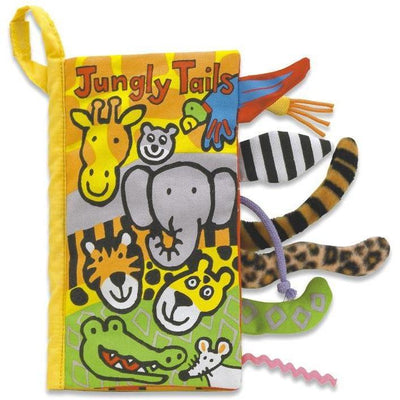 Cloth book for baby that shows tails of animals that live in the jungle
