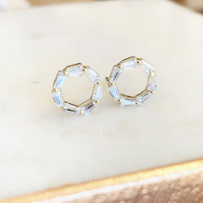 Circle post earrings with cz baguettes make for the perfect every day earring