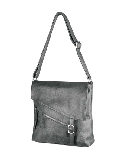 This crossbody messenger bag is asymmetrical and stylish, made from soft vegan leather.