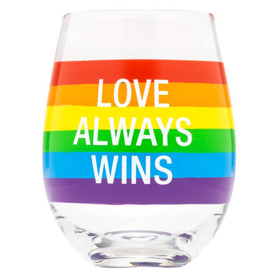 "Stemless wine glass with rainbow band that says ""love always wins"""