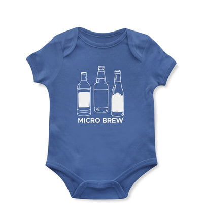 "Blue baby onesie with bottles that says ""microbrew"""