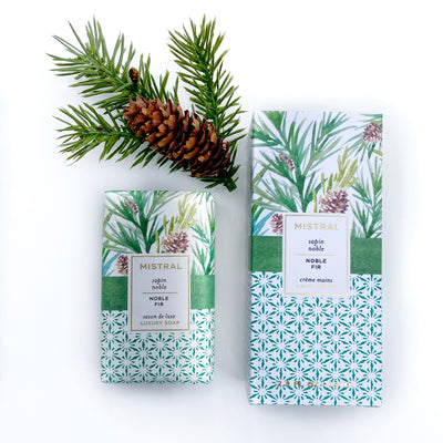 Noble fir scented gift set from Mistral contains shea butter bar soap and hand cream.