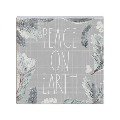 "Small wood block sign measures 5.25"" by 5.25"" and says ""peace on earth"""