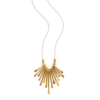 Gold paddles fan out on this mixed metal necklace with sterling silver chain