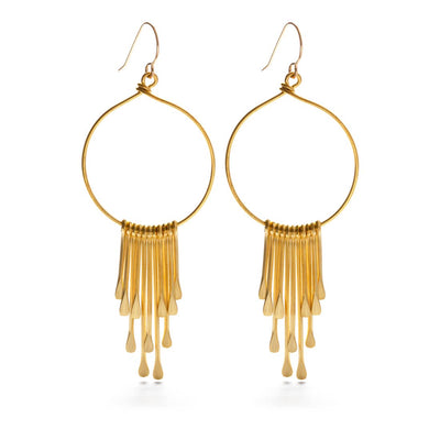 Boho gold statement earrings are 2.5 inches long and feature gold filled ear wires