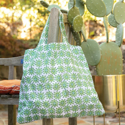Strong and reusable shopping tote in graphic Desert Succulent print.