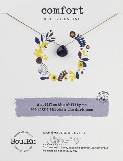 Unique gemstone necklace with Blue Goldstone provides comfort and compassion.
