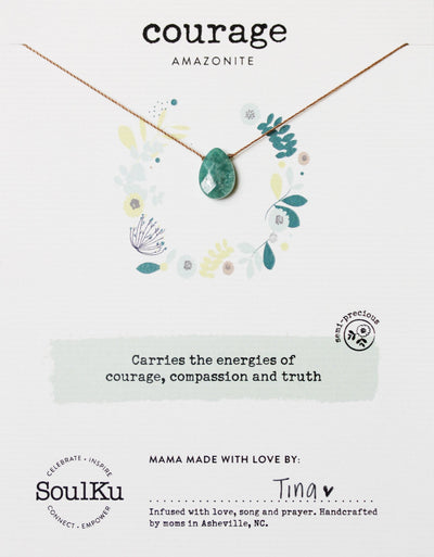 Gemstone necklace with meaning to promote courage, compassion, and truth.