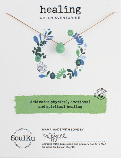Unique gemstone necklace adorned with a green aventurine gemstone to promote healing.