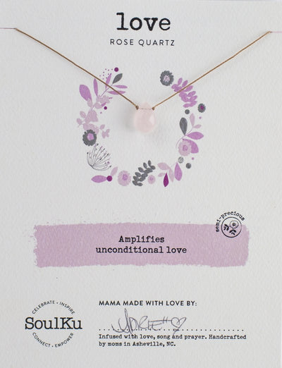 Unique gemstone necklace with rose quartz to promote unconditional love.