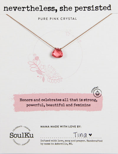 Simple yet elegant necklace with pink crystal to symbolize all that is strong, beautiful and feminine.