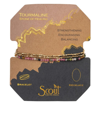 Delicate stone wrap bracelet with Tourmaline, the stone of healing