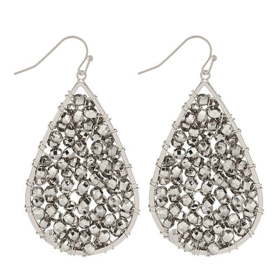 Silver beaded teardrop earrings are simple but dressy enough for when you want to dial it up a notch
