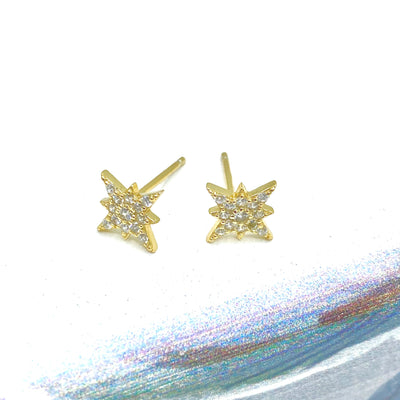 Beautiful star post earrings adorned with cz crystals