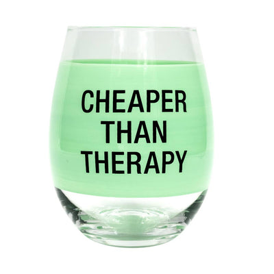"Stemless wine glass with a mint green band that says ""cheaper than therapy"""