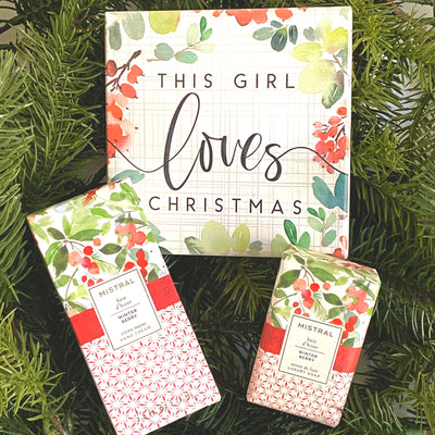 "Gift set is well coordinated and includes a box sign that says ""this girl loves Christmas"", and soap and lotion set from French company Mistral"