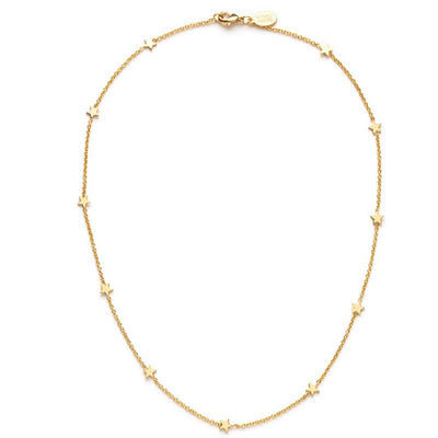 "This simple star necklace is 14k gold over brass and 16"" long. Tiny stars go all the way around the chain and it closes with a lobster clasp"
