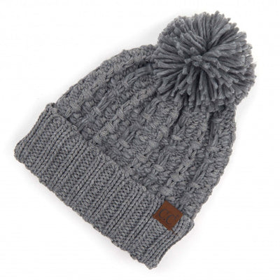 Chunky weave CC hat with pom in grey