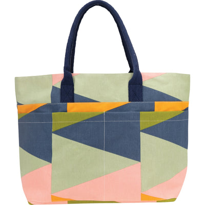 The Zuri carryall tote has a bright geometric pattern and plenty of pockets, making it an ideal beach bag or pool bag.