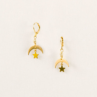 Lightweight moon and star earrings with leverback closure