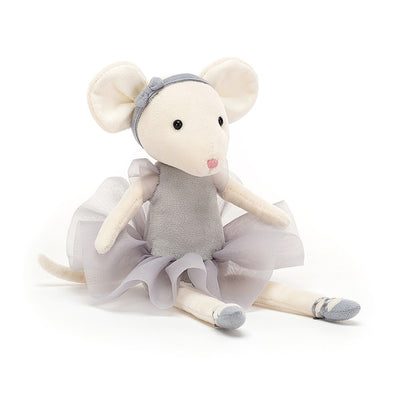 11 inch tall ballerina mouse in grey costume