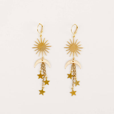 Sun, moon & star dangle earrings in brass with leverback closure