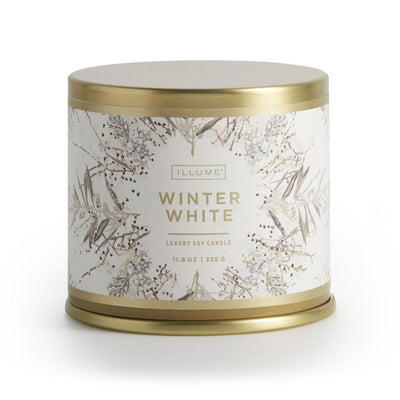 The Winter White large tin candle has a 50 hour burn time and features notes of aromatic evergreen and frosted cypress, dusted with white peppercorn, spicy-cool cardamom and a sparkling citrus nuance