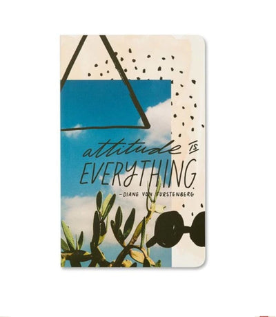 "Soft cover journal with quote ""attitude is everything"" said by Diane Von Furstenberg"