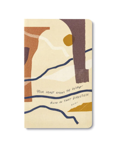 "Soft cover journal states ""your heart knows the way, run in that direction"" which is a quote by Rumi."