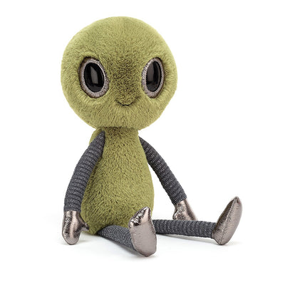 Little green alien with metallic shoes and gloves