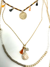 Load image into Gallery viewer, Layered coin & tassel necklace with crystals and stones