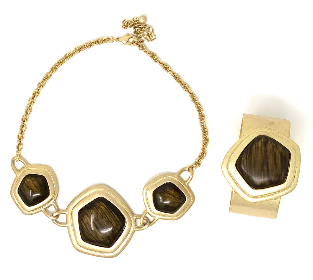 Abstract Stone Necklace Set