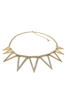 Rhinestone Spiked Triangle Necklace