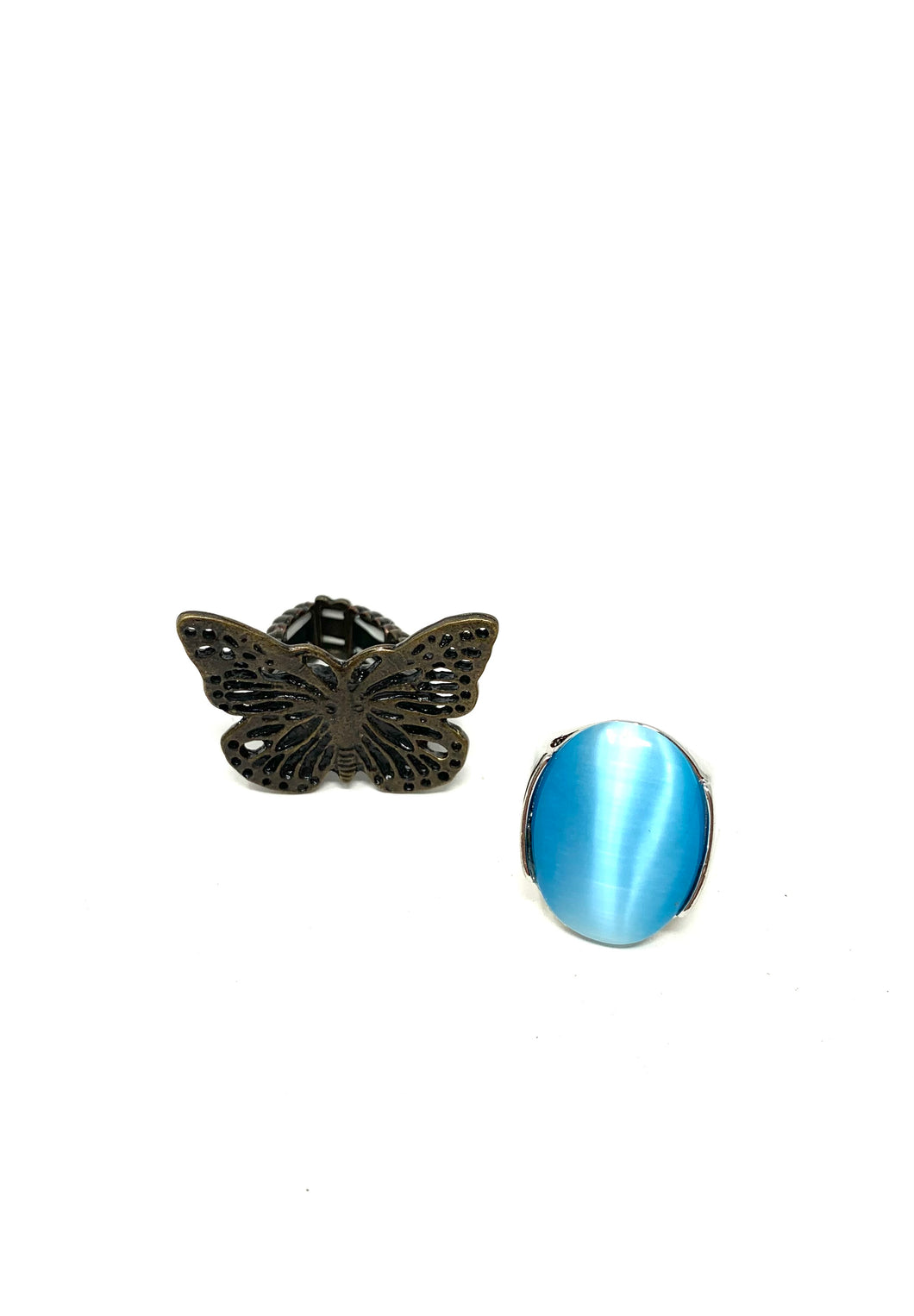 Blue Butterfly Ring Set