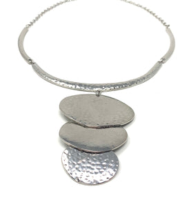 Hammered Silver Tone Abstract Necklace