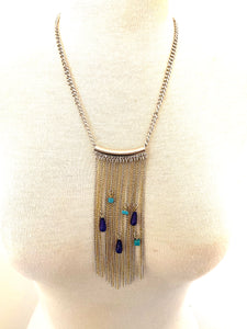 Tassel glass turquoise chain necklace