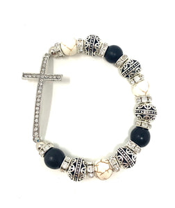 Horizontal Rhinestone Cross Beaded Bracelet